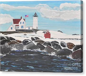 Nubble Lighthouse Canvas Print by Sally Rice