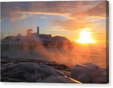 Nubble Lighthouse Canvas Print - Nubble Lighthouse Sea Smoke Sunrise by John Burk