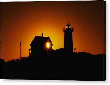 Nubble Lighthouse Sunrise Starburst Canvas Print by Scott Thorp