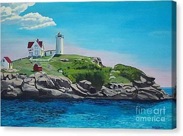 Nubble Lighthouse Sunrise Canvas Print by Stella Sherman