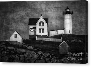 Nubble Lighthouse Texture Bw Canvas Print
