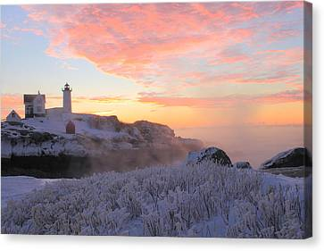 Nubble Lighthouse Canvas Print - Nubble Lighthouse Winter Sunrise by John Burk