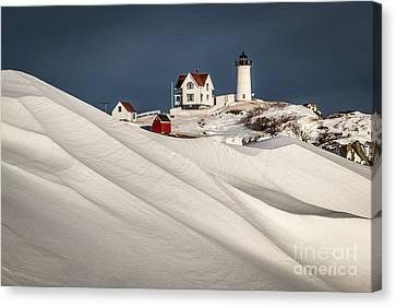 Nubble Snow Drift Canvas Print by Benjamin Williamson