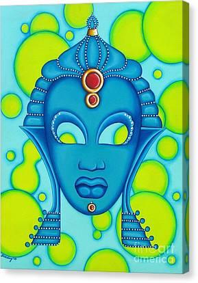 Nubian Modern Mask Blue Canvas Print