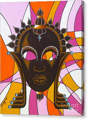Nubian Modern Mask With Pink Canvas Print by Joseph Sonday