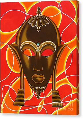 Nubian Modern Mask With Red And Orange Canvas Print by Joseph Sonday