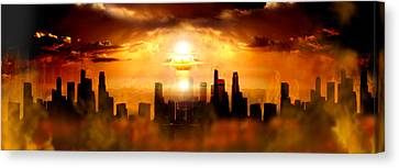 Nuclear Blast Behind City Canvas Print by Panoramic Images