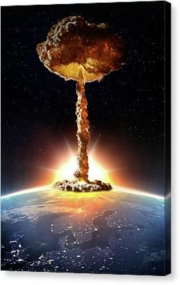 Nuclear Bomb Explosion Canvas Print by Andrzej Wojcicki