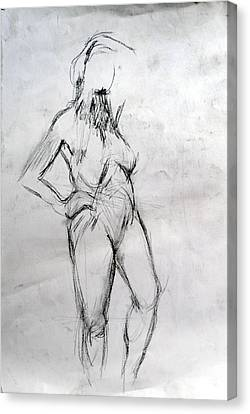 Nude 1 Standing  Canvas Print by Paul Sutcliffe