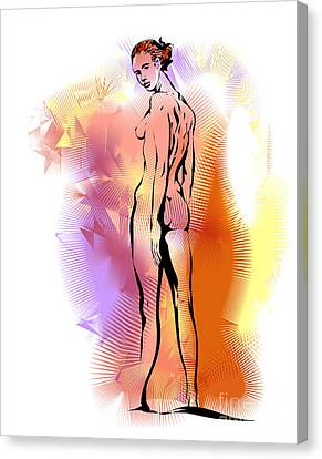 Canvas Print featuring the drawing Nude by Alex Tavshunsky