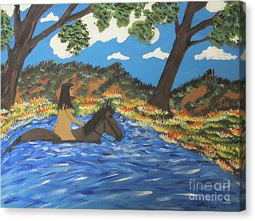 Canvas Print featuring the painting Nude And Bareback Swim by Jeffrey Koss