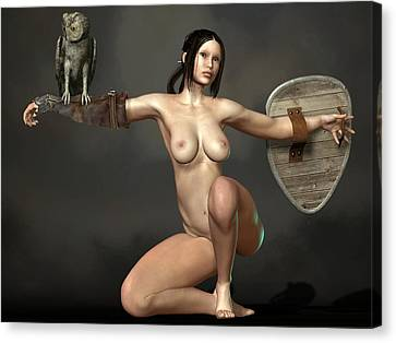 Canvas Print featuring the digital art Nude Athena by Kaylee Mason
