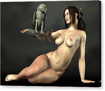 Nude Athena With Owl Canvas Print by Kaylee Mason