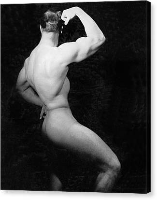 Nude Bodybuilder Side View Canvas Print by Underwood Archives