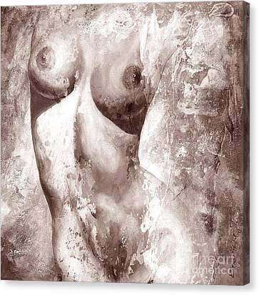 Nude Details - Digital Gray Color Version Canvas Print by Emerico Imre Toth