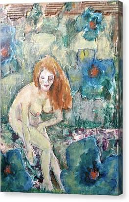 Hair-washing Canvas Print - Nude Fairy Among Blue Poppies by Cj Carroll