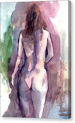 Canvas Print featuring the painting Nude by Faruk Koksal
