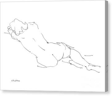 Woman Drawings Drawings Canvas Print - Nude Female Drawings 9 by Gordon Punt