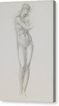 Nude Female Figure Study For Venus From The Pygmalion Series Canvas Print by Sir Edward Coley Burne-Jones