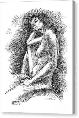 Canvas Print featuring the drawing Nude Female Sketches 3 by Gordon Punt