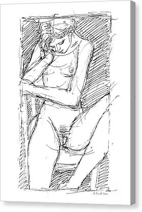 Canvas Print featuring the drawing Nude Female Sketches 4 by Gordon Punt