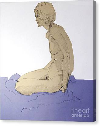 Canvas Print featuring the drawing Nude Figure In Blue by Greta Corens