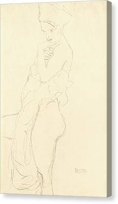 Woman Drawings Drawings Canvas Print - Nude by Gustav Klimt
