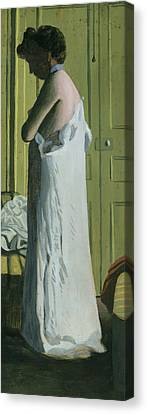 Dressing Room Canvas Print - Nude In An Interior by Felix Edouard Vallotton