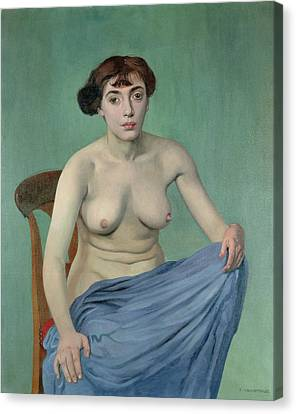 Nude In Blue Fabric, 1912 Canvas Print by Felix Edouard Vallotton