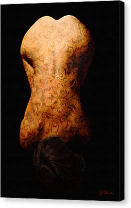 Nude In Brocade Canvas Print by Joe Bonita