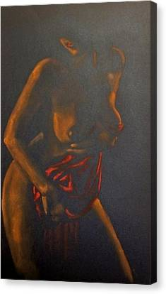 Nude In Darkness Canvas Print