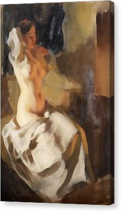 Nude In Fire Light Canvas Print by Anders Zorn