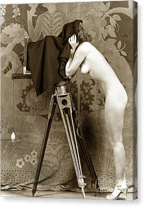 Nude In High Heel Shoes With Studio Camera Circa 1920 Canvas Print by California Views Mr Pat Hathaway Archives