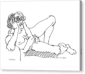 Canvas Print featuring the drawing Nude Male Drawings 5 by Gordon Punt