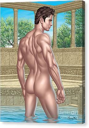 Bare Trees Canvas Print - Nude Male In Roman Bath  by Roman Hans