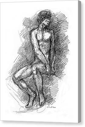 Canvas Print featuring the drawing Nude Male Sketches 1 by Gordon Punt