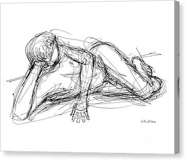 Canvas Print featuring the drawing Nude Male Sketches 5 by Gordon Punt
