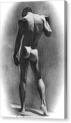 Nude Man In Contemplation Drawing Canvas Print by Karon Melillo DeVega