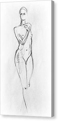 Nude Woman Charcoal Drawing Canvas Print - Nude Model Gesture Viii by Irina Sztukowski