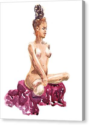 Nude Model Gesture Xi Royal Garnet Canvas Print