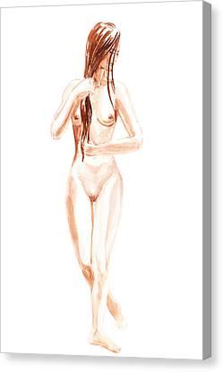 Nude Model Gesture Xiii Morning Flow Canvas Print by Irina Sztukowski