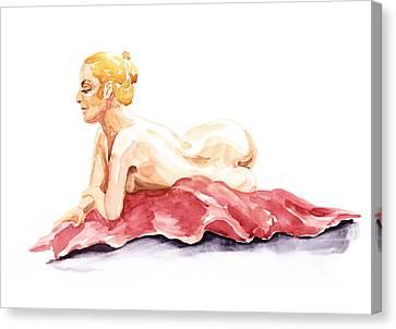 Nude Model Gesture Xiv Resting On Red Canvas Print by Irina Sztukowski
