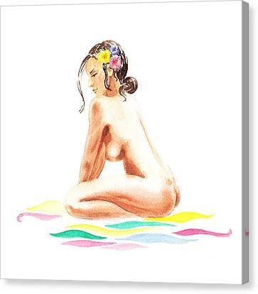 Nude Model Gesture Xvi Tropical Flower Canvas Print by Irina Sztukowski