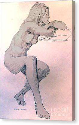 Nude Of A Dreamy Young Woman Canvas Print by Greta Corens