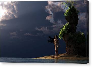 Nude On A Beach Canvas Print by Kaylee Mason
