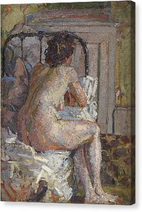 Camden Town Group Canvas Print - Nude On A Bed, C.1914 by Harold Gilman