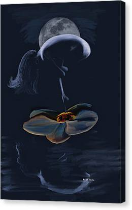 Nude On A Lilly Pad In Moonlight Canvas Print by Angela A Stanton
