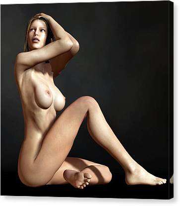 Nude On The Floor Canvas Print by Kaylee Mason