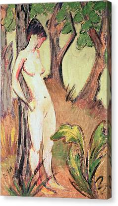 Nude Standing Against A Tree Canvas Print by Otto Muller or Mueller