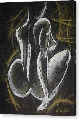 Canvas Print featuring the drawing Nude  Vii by Dragica  Micki Fortuna